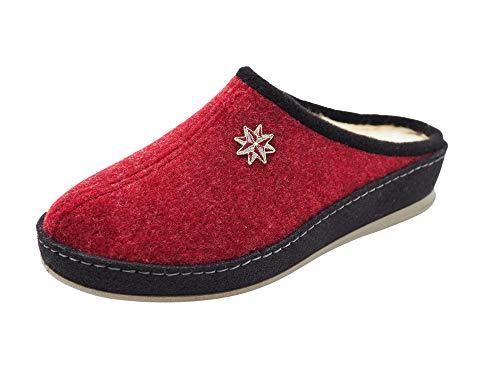 Schawos Filz Hausschuh für Damen, Qualitäts-Pantoffel, Made in Germany, mit anatomisch geformtem Fußbett und aktiver Fersendämpfung (Bordeaux, Numeric_40)