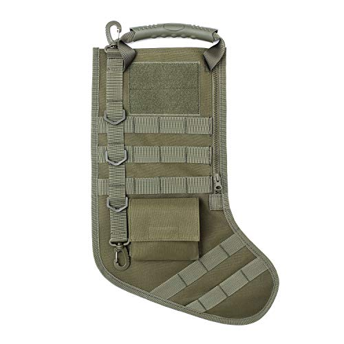Tactical Christmas Stocking with MOLLE Gear Webbing (1 Pack Army Green)
