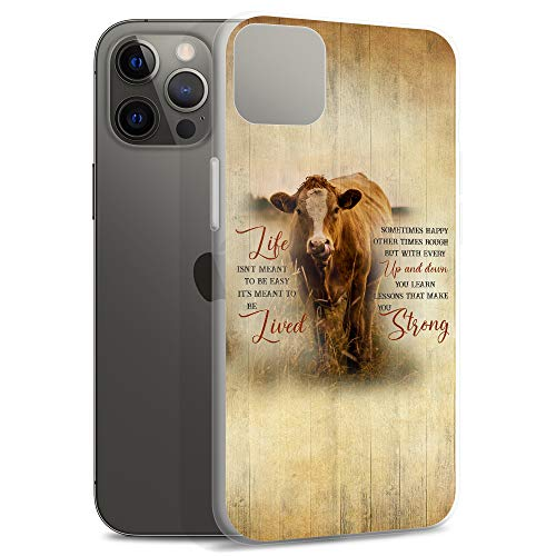 Compatible for iPhone 12/12 Pro Case Motivational Quotes Make You Strong Farm Life Cows Farmers Clear Anti-Scratch Covers TPU Phone Cases