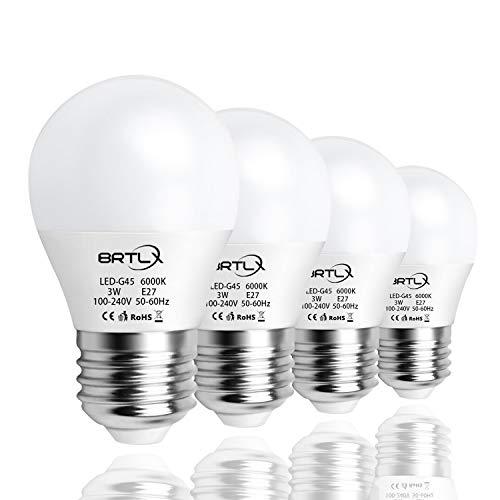 Bombilla LED Esférica E27 3 W, Equivalencia de 25 W, Luz Blanca 6000K, 240 Lúmenes, No Regulable, Pack de 4 Unidades[Clase Energética A+]