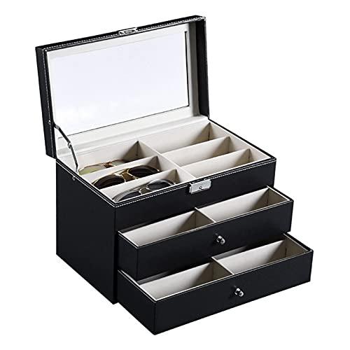 Caja de Gafas Estuche de Gafas de Sol Organizador, PU cuero 3 capas 18 cuadrículas Gafas de sol Caja de almacenamiento Titular de gafas Organizador de gafas Mostrar caja con cajón y bloqueo Organizado