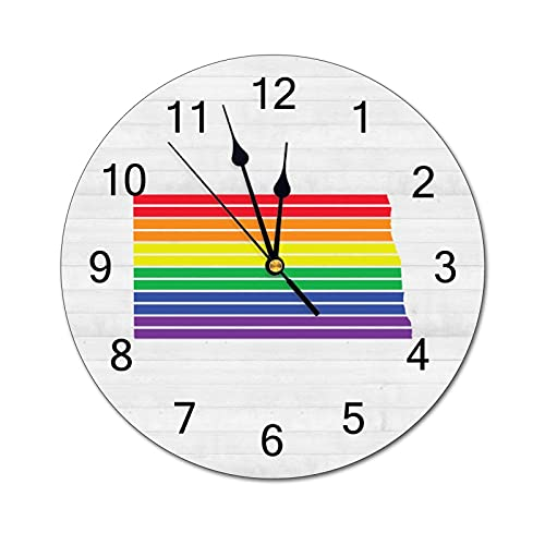 North Dakota Wall Clock LGBT Rainbow Map State Home State Homeland 12 Inch Wooden Wall Clock,Battery Operated,Farmhouse Wall Decor Home Decor for Kitchen,Living Room,Bedroom,Office
