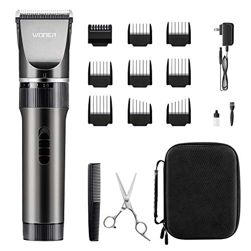 WONER Hair Clippers for Men, Rechargeable Cordless Hair Trimmers, 16-Piece Home Hair Cutting Kits