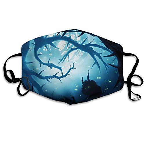 Confortevole copertura antivento per il viso, animale con occhi che bruciano nella foresta oscura di notte, illustrazione horror di Halloween, decorazioni facciali stampate per tutti.