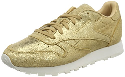 Reebok Cl Lthr Shimmer, Zapatillas Mujer, Amarillo (Gold/Chalk Cn0574), 37.5 EU
