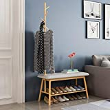Lrxq Madera cruda Color Multifuncional Perchero Hogar Calzado Banco Porche Sencilla Percha Moderna Colgante de pie para Dormitorio