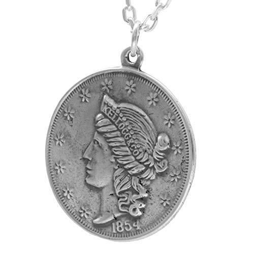 新宿銀の蔵 アメリカン コイン シルバー 925 ネックレス (チェーン付き) メンズ アメリア 硬貨 ペンダント 女神像 銀貨