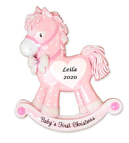 2020 Personalized Ornament Baby's First Christmas Baby Girl Rocking Horse Christmas Tree Ornament Handwritten Customized Decoration Baby Ornaments-Free Personalization (Pink)