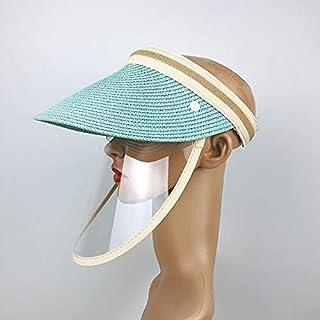 マスク Anti-Salivaスプラッシュ防止防止防止防止防止防止石油保護キャップマスク取り外し可能な顔シールド空の上の太陽の帽子、サイズ:大人 プロテクティブフェイスシールド (Color : Blue)