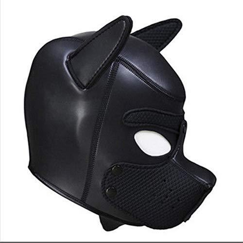 Lovearn Gepolsterte Welpenhaube aus Latex benutzerdefinierte Tier Kopf Maske Neuheit Kostüm Hund Kopf Masken Cosplay voller Kopf mit Ohren 10 Farbe (Schwarz)