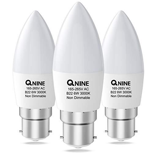 3-Pack LED Candle Bulb Bayonet, B22 Candle Bulb, 6W (Equivalent to 60W), 550lm, 3000K Warm White, Bayonet Light Bulb, Energy Saving Light Bulbs Bayonet, Non-Dimmable