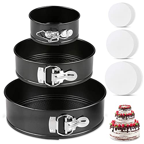 Hikolvol Springform Pan Set of 3 Nonstick Cheesecake Pan with Removable Bottom, Leakproof Round Cake Pan Set Includes 3 Pcs 4' 7' 9' Spring Forms Pan for Baking and 60 Pcs Parchment Paper