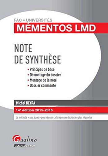 Mémentos LMD - La note de synthèse, 14ème Ed.