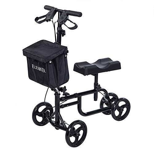 ELENKER Best Value Knee Walker Steerable Medical Scooter Crutch Alternative with Dual Braking System Black