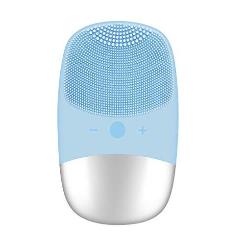 cepillo limpiador facial eléctrico, cepillo de limpieza facial de silicona, impermeable, masajeador facial antienvejecimiento, limpieza de la piel para pulir facial, exfoliar y masajes (azul1)