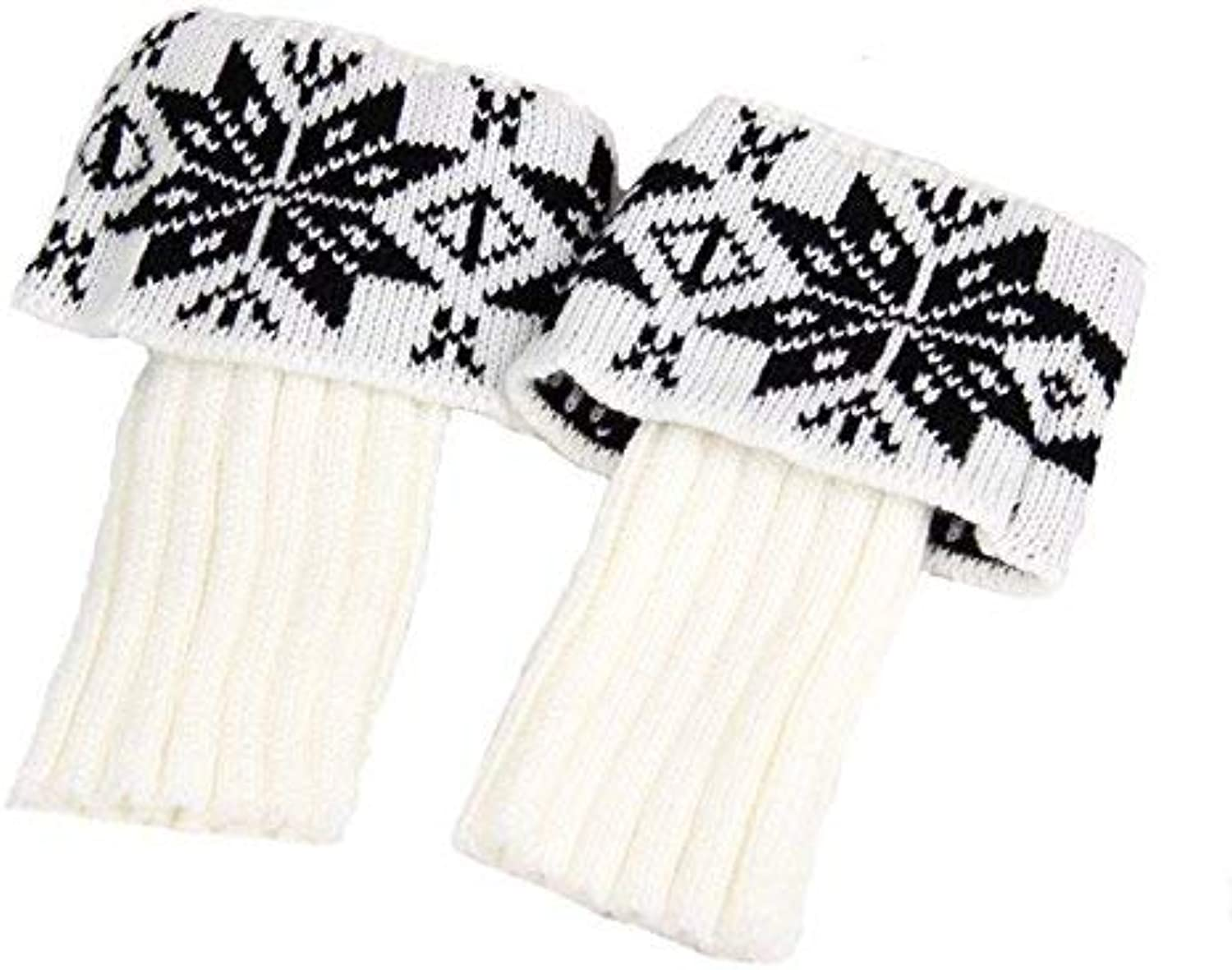 Comfortable Arm Warmer Leg Stocking European and American Knitted Snowflake Short Woolen Warm Boots Flip Fashion Foot Covers (color   White)