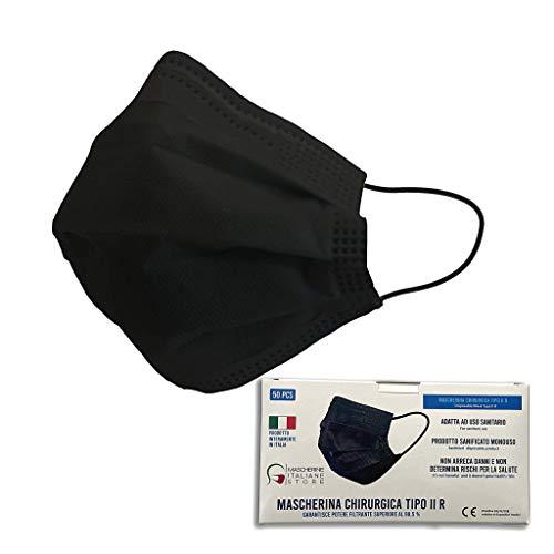 Mascherina Chirurgica 3 veli Certificazione CE COMPLETAMENTE PRODOTTA IN ITALIA CON MATERIALI CERTIFICATI ITALIANI. (PACCO DA 50 PEZZI COLORE NERO)