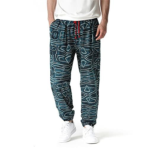 Pantalons Homme en Coton Joggers Pants imprimé Sport Track Gym Pantalon Baggy Active Pantalons décontractés Confortable Casual Style Hip-Hop 4 3XL