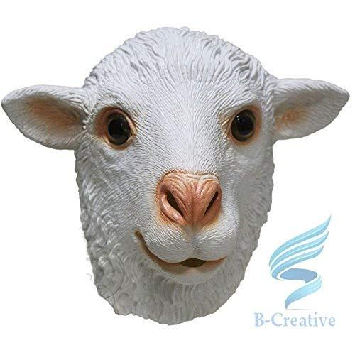 B-Creative Mscara de ltex de cabeza completa para cosplay de animal, disfraz de carnaval (mscara de oveja blanca)