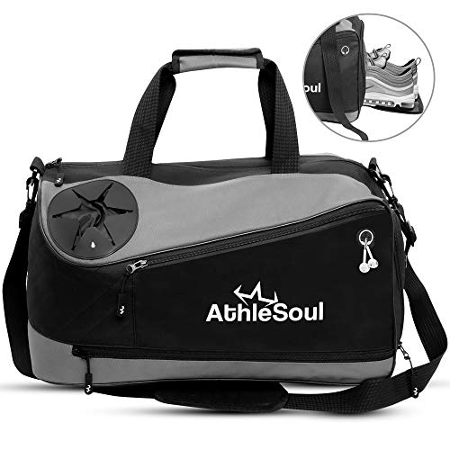 AthleSoul Sports Duffle Gym Bag- (All in One) Unique Bottle Holder/Earphone...