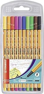 STABILO sw8810 Fineliner Stabilo Point 88 Assorted 8810 Fineliner Wallet, Multicoloured, 10 (0213532)