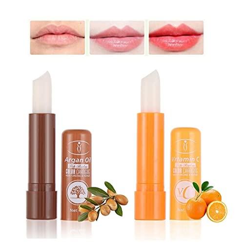 Set 2 Lipstick pintalabios mágico de aceite de argán y vitamina C. Barras de labios hidratantes duradero. Cambia de color con la temperatura 2 unidades