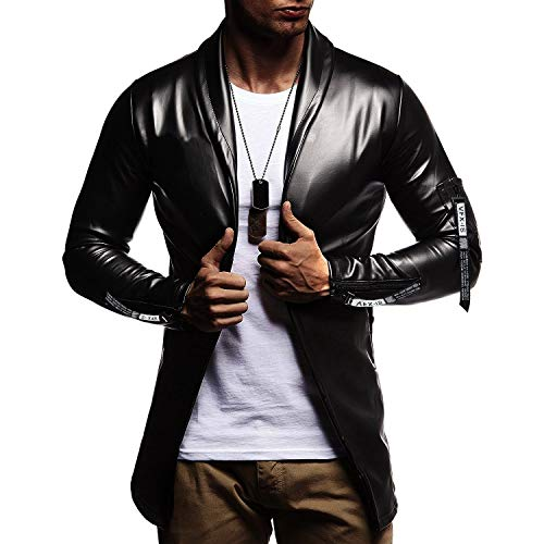 Mannen vis Plain Het nieuwe leer nonchalant lichte kleding winkel Pitsea getailleerde jas dunne PU side Zipper Buckle Norm (Color : Zwart, Maat: M)