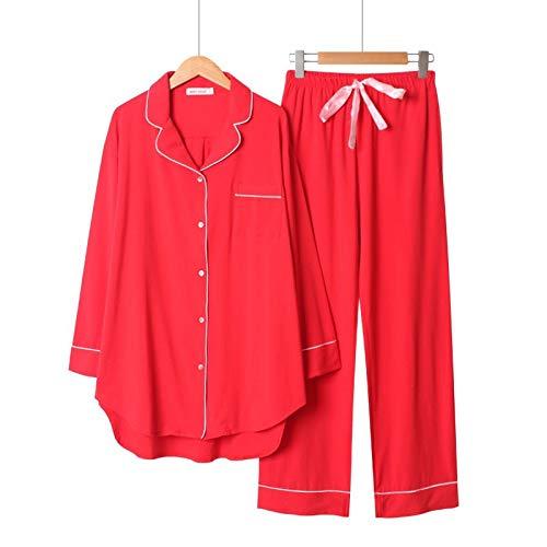LEYUANA 2020 Primavera y otoño Nuevo Conjunto de Pijamas de Estilo Simple de Color sólido para Mujer, cómodo algodón de Gran tamaño, Ropa de hogar Holgada para Mujer L Rojo