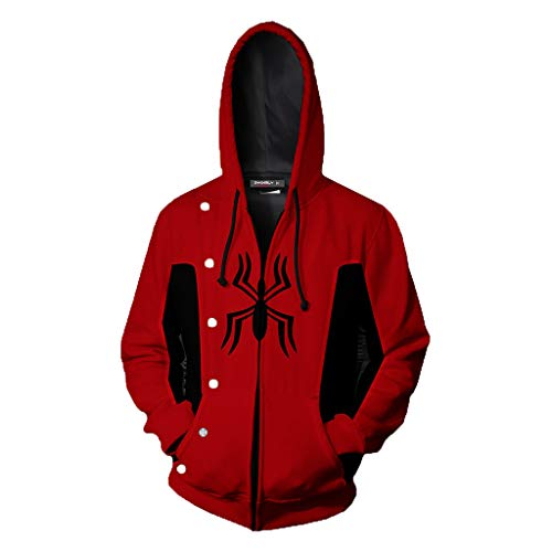 Spiderman Cosplay Sudadera con Capucha Miles Morales Disfraz con Abrigo con Cremallera The Avengers Superhero Dress Suit Superhero Onesies Far from Home-3XL