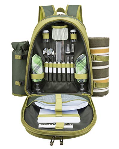 ALLCAMP OUTDOOR GEAR 2 Person Blue Picnic Backpack Hamper with Cooler Compartment Includes Tableware & Fleece Blanket (Green)