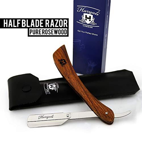 Pure Rose houten scheermes, Cut Throat scheermes/scheermes (geen mesjes inbegrepen) + reistas optimale scheermessenset voor een zachte en grondige scheerbeurt zoals bij de barbier