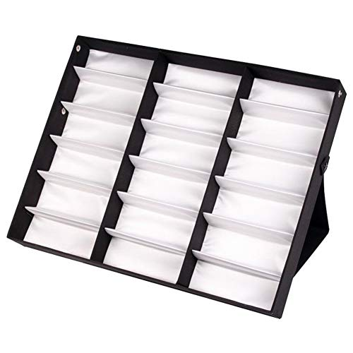 Dušial 18 Grids Eyeglass Storage Organizer Sunglasses Glasses Storage Display Box Holder Case Organizer