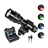 Ouesen LED Tactical Flashlight with Picatinny Mount, 1600LM Bright 5 Modes Opreated Flashlight with USB Rechargeable Batteries, Remote Pressure Switch, for Camping Biking Hunting (CREE XML-L2 LED)