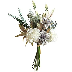 Facibom Dahlia Hand Flowers with Eucalyptus Hand Grass for Home Wedding Decorations Luxury Grey Artificial Flowers
