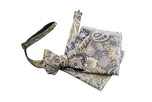 Old Fashion Sartoria, Firenze, Papillon, Pochette, Fazzoletto, Uomo, Lana, Seta, Blu, Beige, Taglia Regolabile