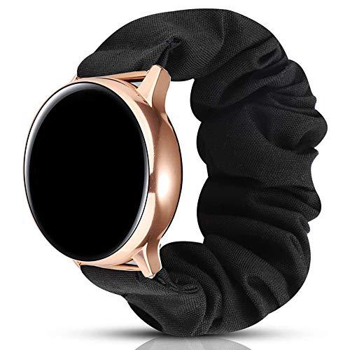 Miimall 20mm Scrunchie Correa Compatible con Samsung Galaxy Watch Active/Acitve 2 40mm/ 44mm, Elástica Suave Tela Estampada Correa Reemplazo para Samsung Galaxy Watch 42mm/ Gear S2 Classic
