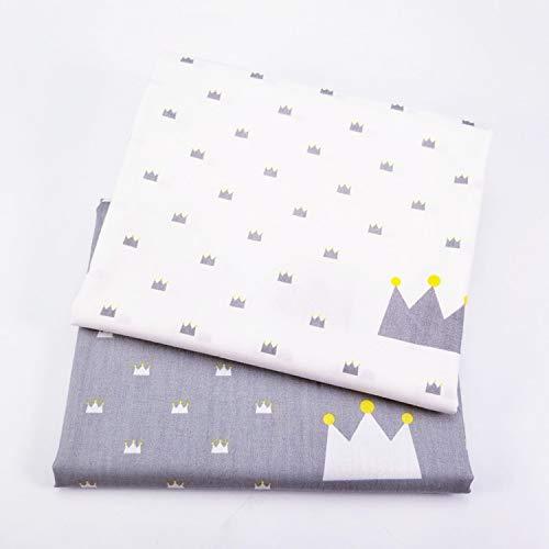 2 PCS/Lot Coton Sergé Imprimé Tissu DIY Couture Coton Tissu Couronne Impression Matériel Pour La Main Textile de Maison Textile Literie-2 pcs Chaque 50x160 cm-