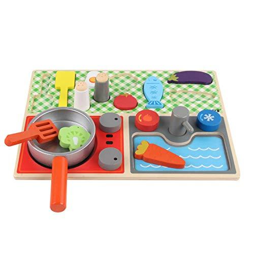 Kinderküche Spielküche Aus Holz, Kinder Küche Spielspielzeug Set Mit Gemüse, Spatel, Topf, Tragbar Lernspielzeug Spielküche Als Perfekte Vorbereitung Geschenk Für Kinder