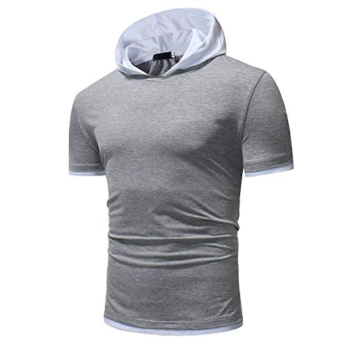 ZYYM Mens Short Sleeve Pullover T Shirts Casual Sports Top Hoodies Sweatshirt Pullover Hoodie Mens Short Sleeve T Shirts Casual Top Casual Tops Tracksuit Slim Shirt Hooded Gym Pullover