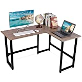 Viewee L-Shaped Computer Desk 50.4'' Gaming PC Table Home Office Writing Desk with Cork Fixed Footrest Structure Corner Desk, 2-Piece, Brown