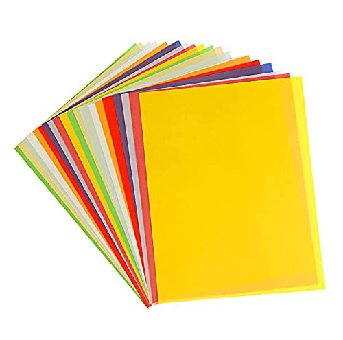 Wishstar Transparentpapier Bunt, Transparent Papier, 10 Farben, 40 Sheets A4 Coloured Durchsichtiges Paper, Origami Buntes Papier, Colourful Tracing Paper zum DIY Basteln, Scrapbooking