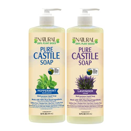 Dr. Natural, Pure Castile Liquid Soap, (Peppermint, Lavender 32 Ounce 2-pack) Essential Oils, Ultra-moisturizing Body Wash, Shampoo, Facial Cleanser Or Hand Wash.