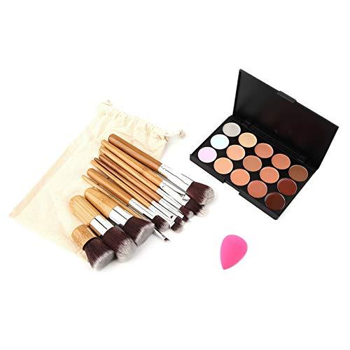 15 Couleur Palette Correcteur + 11pcs Brosses En Bambou Eau Éponge Bouffée Maquillage Base Fondation Concealers Visage En Poudre 2016 Vente Chaude