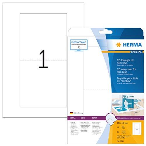 HERMA 5033 CD DVD Einleger für Slim Case Hüllen DIN A4 (121 x 242 mm, 25 Blatt, Karton) perforiert, bedruckbar, nicht klebende Papier-Cover, 25 Inlays, weiß