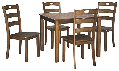 Signature Design by Ashley Hazelteen Dining Room Table and Chairs (Set of 5), Medium Brown