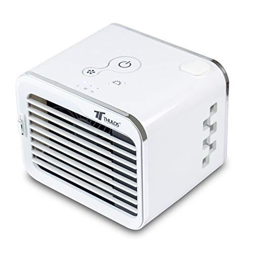 Thulos Mini Enfriador de Aire Personal, refresca con Agua sin Necesidad de Productos químicos. 3 Niveles de Velocidad y enfriamiento. Ventana de Nivel de Agua con luz LED.
