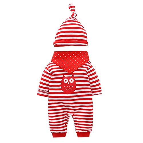 Vine Trading Co.,Ltd Vine Neugeborenes Baby 3 Pcs Strampler Spielanzug Baumwolle Langarm Baby Outfits Unisex Kleinkinder Streifen Jumpsuits mit Hut & Geifer-Lätzchen rot
