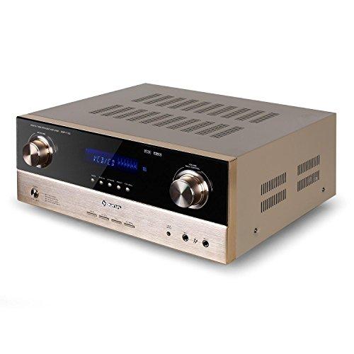AUNA AMP-7100 Amplificador 7.1 Sonido Envolvente - 2000 W , Entradas: 1 Entrada 7.1, 2 entradas Micrófono, 2 ópticas, 2 coaxiales , Sintonizador Radio , 20 Hz-20 KHz , Bronce