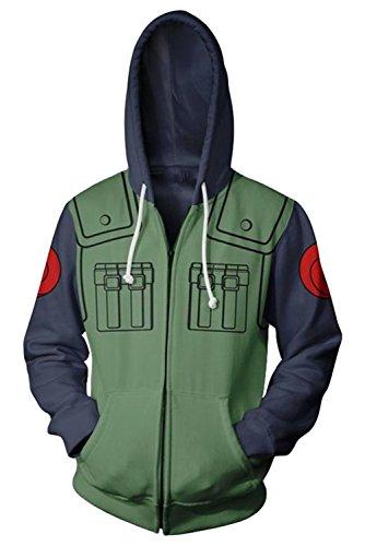 Kakashi Hoodie Trench Coat Sweatshirt Zip Up Pullover Jacket Pocket Overcoat Cloak Cosplay Custome Unisex