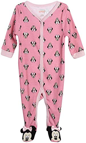 Disney Baby Girls' Sleep N' Play – Footie Pajamas: Minnie Mouse, Daisy Duck, Princess (Newborn/Infant), Size 6-9 Months, Minnie Roses